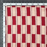 Pastel Peach And Red Stripes Pattern Foil Screen Print Cotton By Linen Fabric