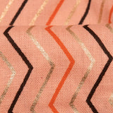 Pastel Peach And Golden Chevron Pattern Foil Screen Print Cotton By Linen Fabric - Fabcurate