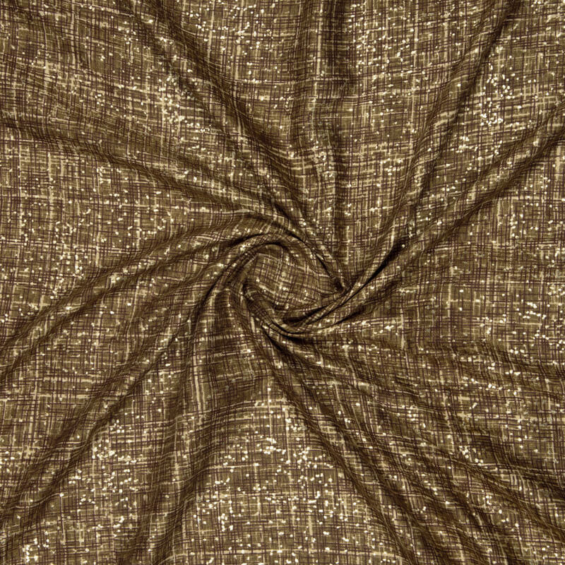 Coffee Brown Abstract Pattern Foil Screen Print Viscose Linen By Rayon Fabric