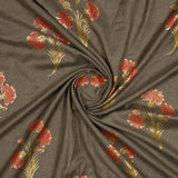 Dark Brown Floral Pattern Foil Screen Print Viscose Linen By Rayon Fabric