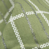 Highland Green And Silver Checks Pattern Foil Screen Print Cotton By Linen Fabric - Fabcurate