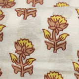 White Floral Booti Pattern Screen Print Cotton Fabric
