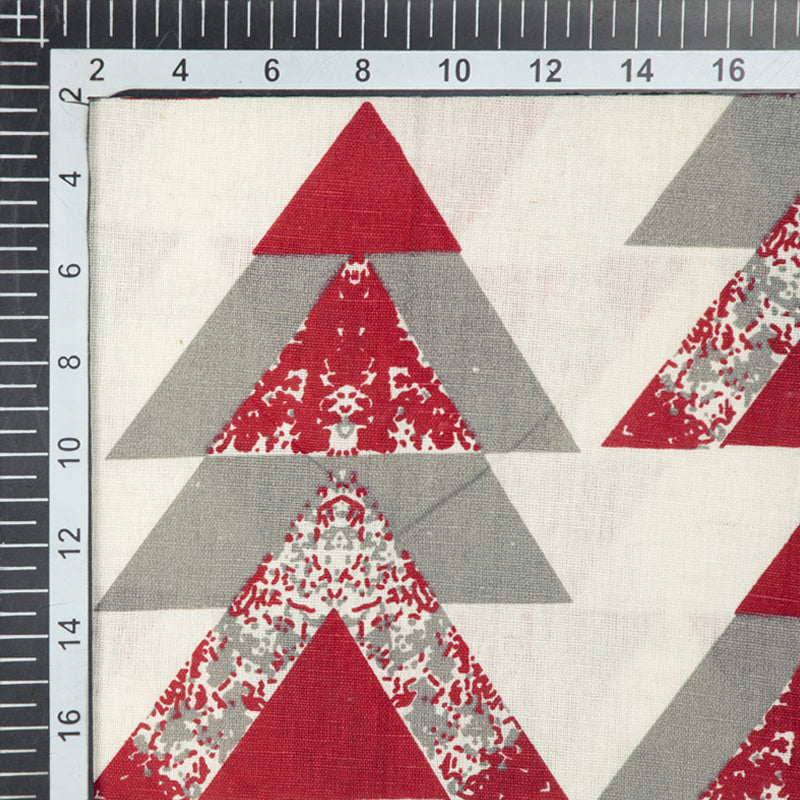 White And Grey Geometric Pattern Screen Print Cotton By Linen Fabric