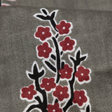 Dark Grey And Maroon Mughal Floral Pattern Screen Print Cotton Fabric
