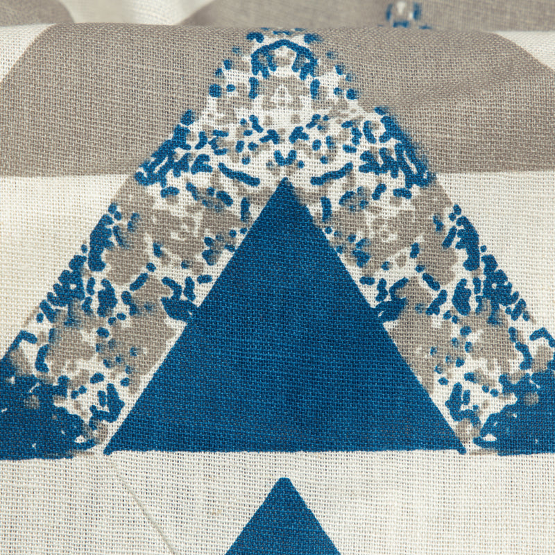 White And Yale Blue Geometric Pattern Screen Print Cotton By Linen Fabric - Fabcurate