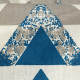 White And Yale Blue Geometric Pattern Screen Print Cotton By Linen Fabric
