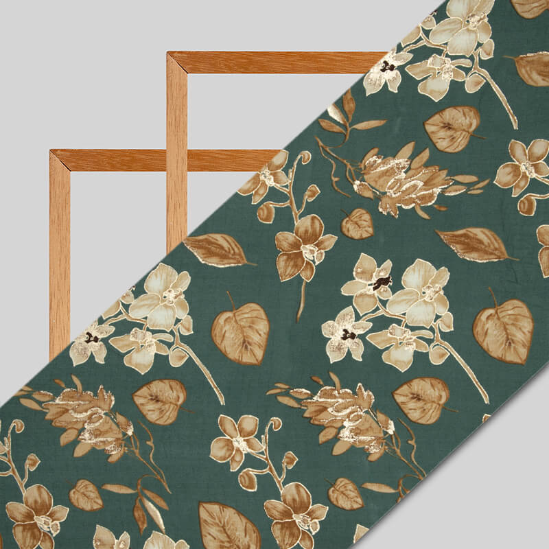 Olive Floral Pattern Foil Screen Print Viscose Rayon Fabric