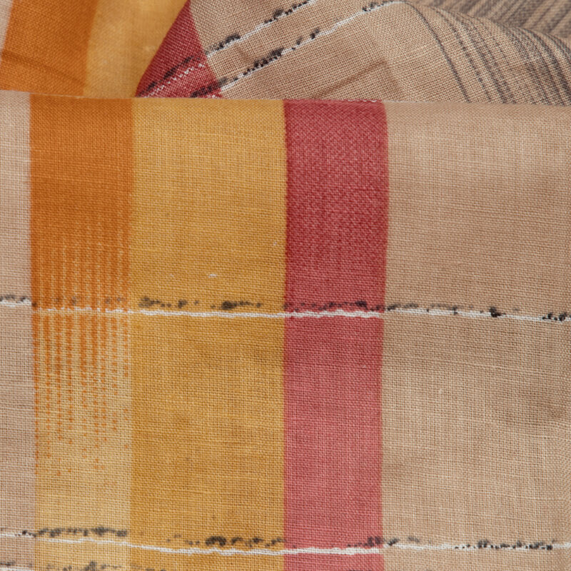 Beige Stripes Pattern Screen Print Cotton By Linen Fabric