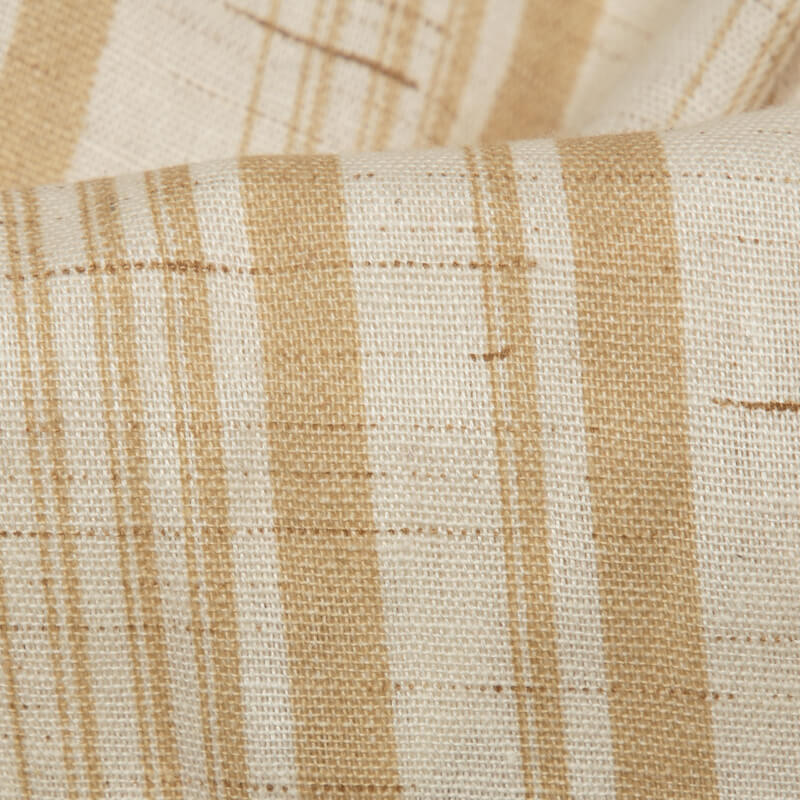 Cream Stripes Pattern Screen Print Cotton By Linen Fabric
