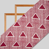 Red And White Stripes Pattern Screen Print Cotton By Linen Fabric