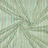 Cream And Green Stripes Pattern Foil Screen Print Viscose Linen By Rayon Fabric