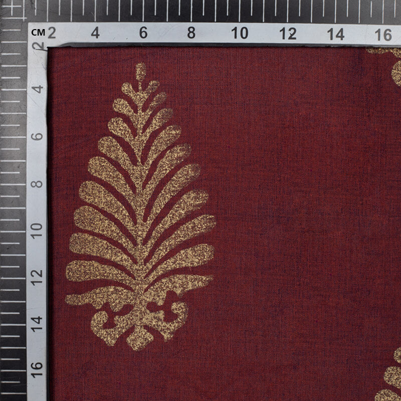 Dark Brown And Golden Mughal Pattern Foil Screen Print Dual Tone Muslin Fabric