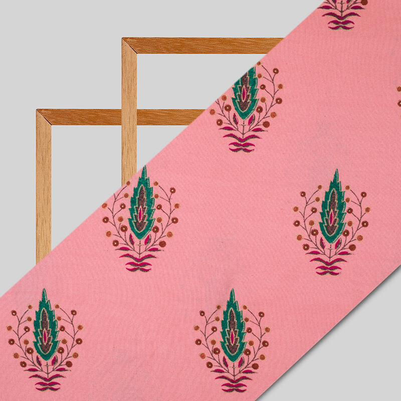 Light Pink And Green Leaf Pattern Foil Screen Print Viscose Linen By Rayon Fabric