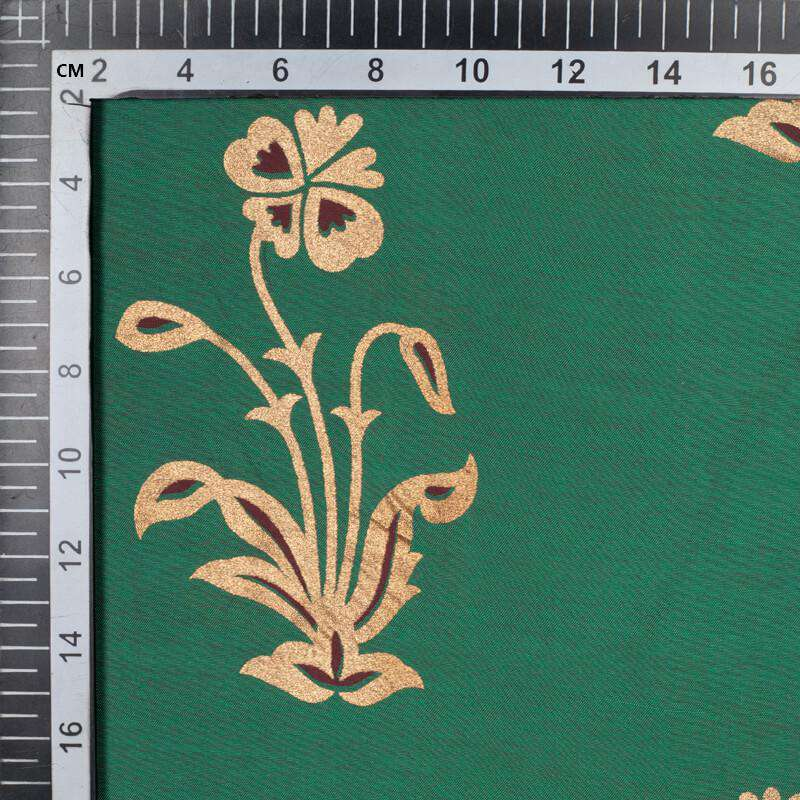 Green And Golden Mughal Floral Pattern Foil Screen Print Dual Tone Muslin Fabric