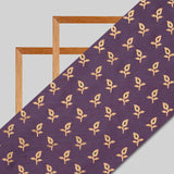 Lavender And Golden Booti Pattern Foil Screen Print Dual Tone Muslin Fabric