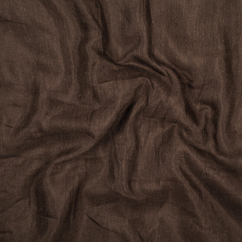 Dark Brown Plain Viscose Linen By Rayon Fabric - Fabcurate