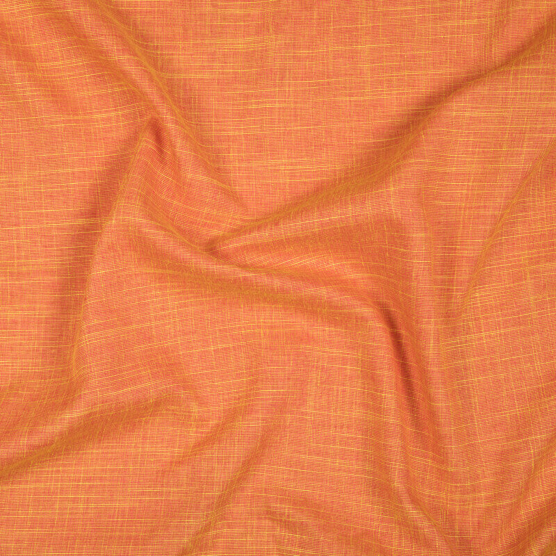 Orange And Yellow Dual Tone Plain Premium Rayon Slub Fabric (Width 58 Inches)