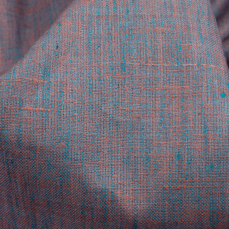 Sky Blue And Orange Plain Cotton By linen Fabric (Width 58 Inches) - Fabcurate