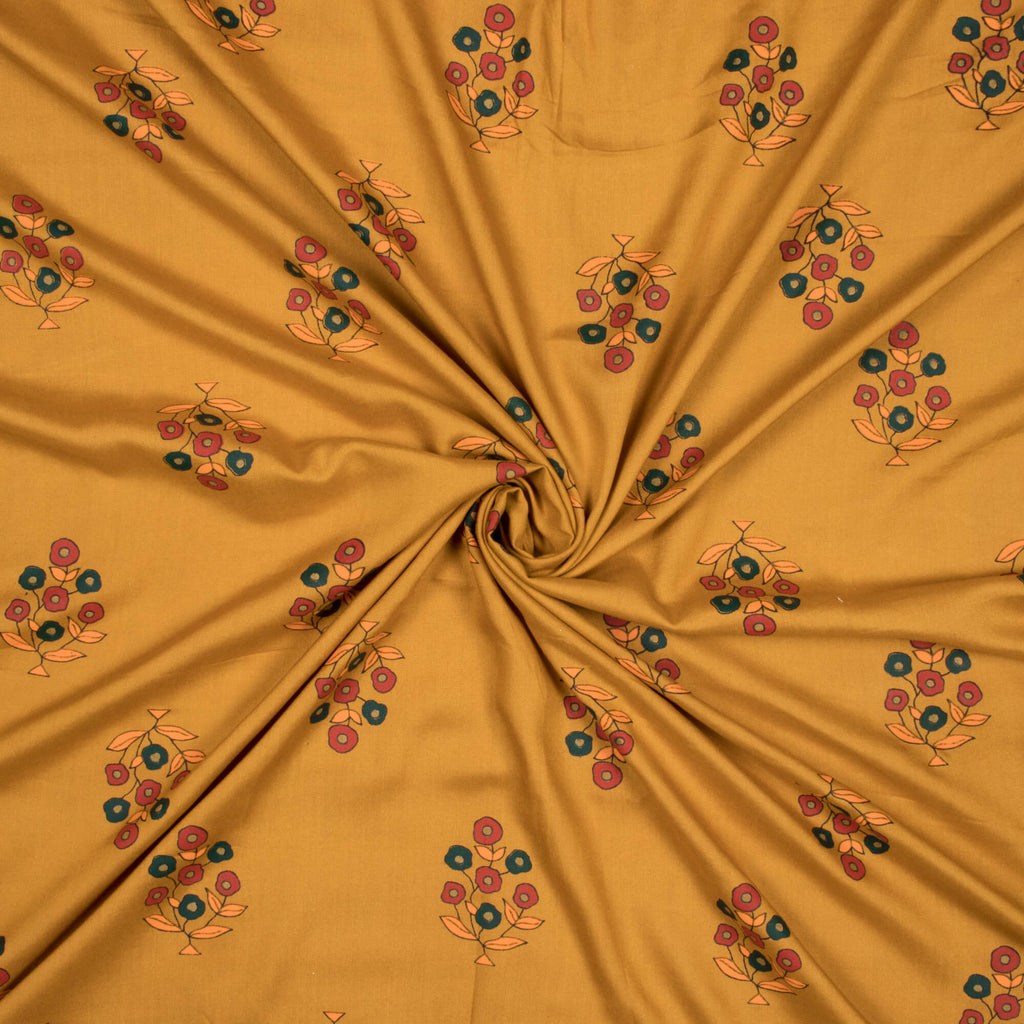 Mustard Yellow And Red Floral Pattern Screen Print Rayon Fabric - Fabcurate