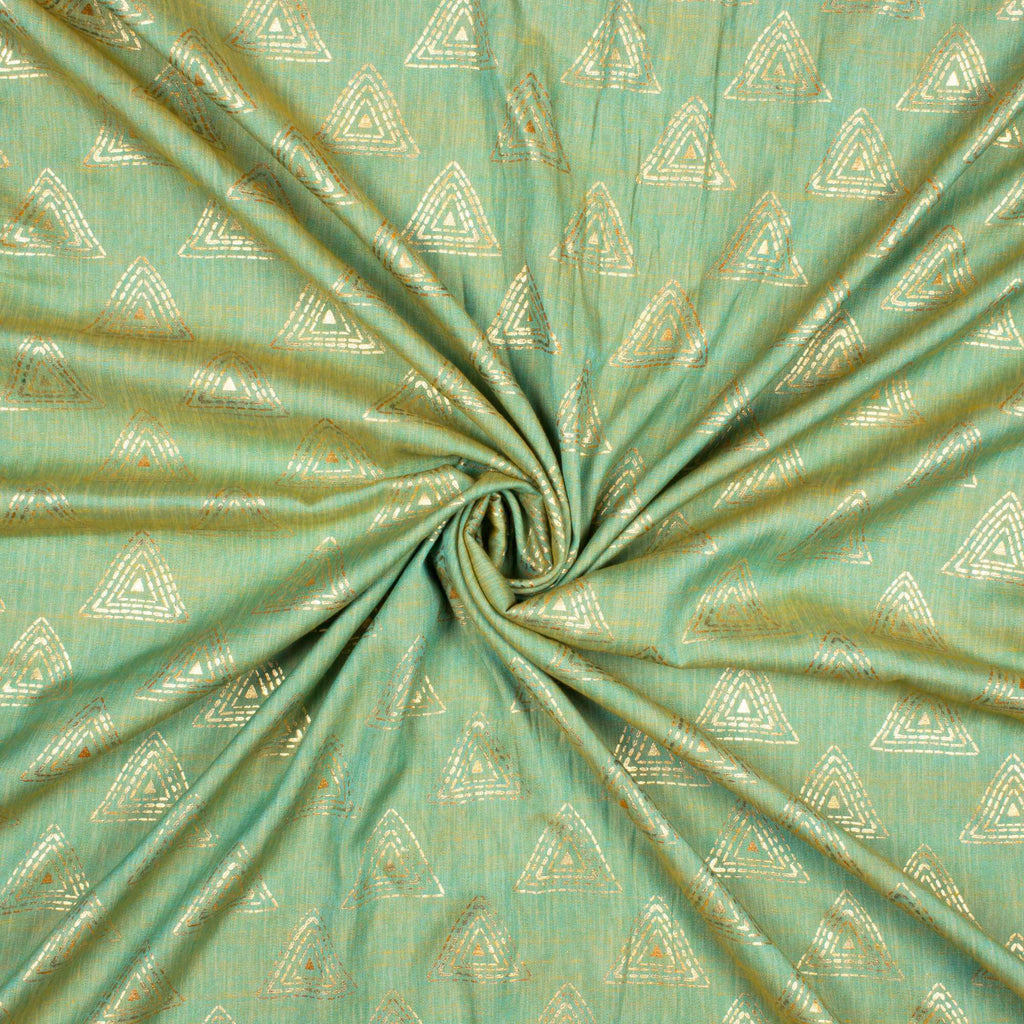 Pistachio Green Geometric Pattern Rubber Foil Print Rayon Textured Fabric