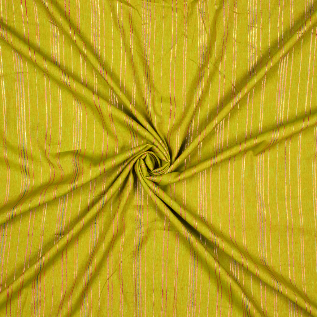 Chartreuse Green Stripes Pattern Rubber Foil Print Rayon Textured Fabric