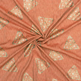 Cedar Orange Ethnic Pattern Rubber Foil Print Rayon Textured Fabric - Fabcurate