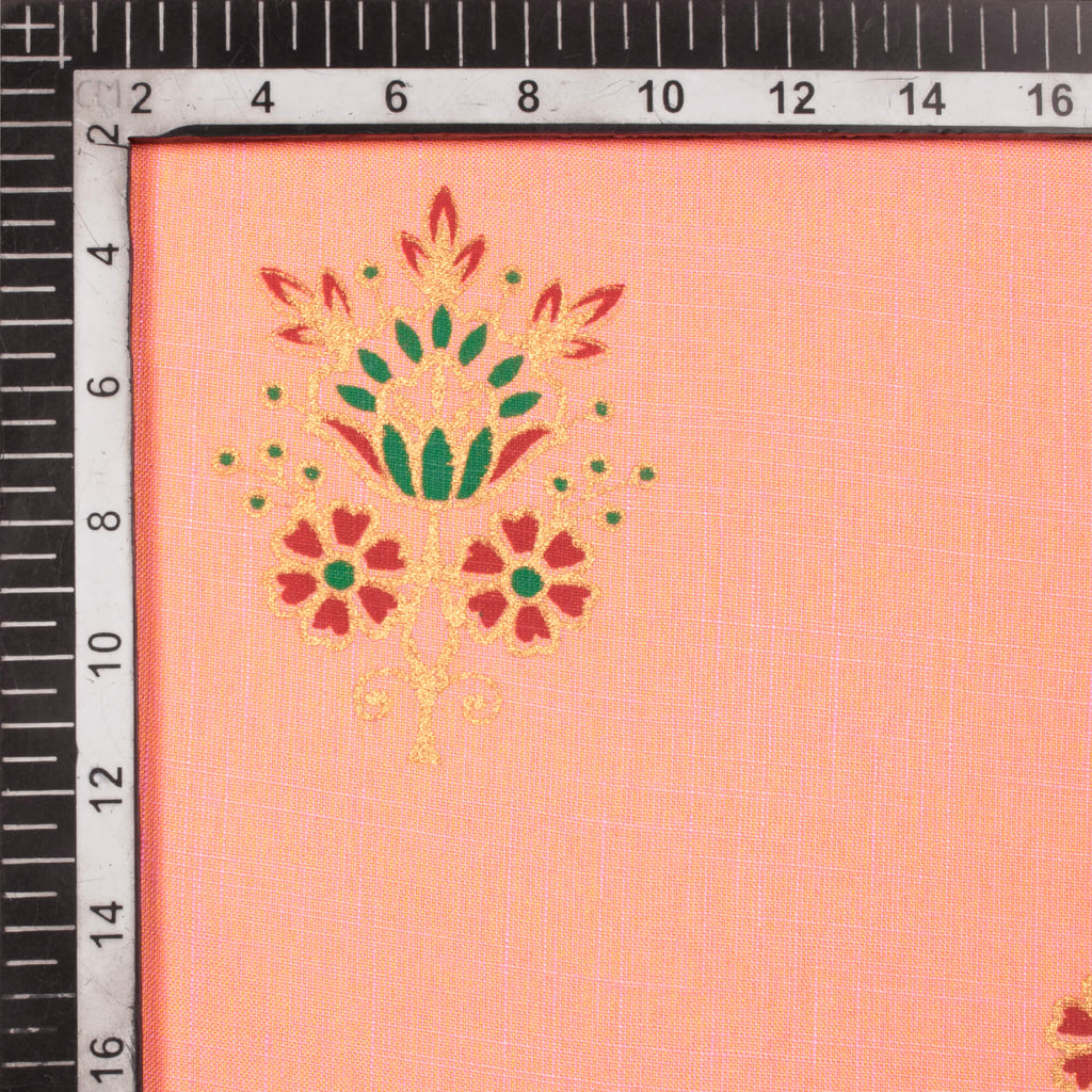 Peach And Red Floral Pattern Foil Print Rayon Slub Fabric - Fabcurate