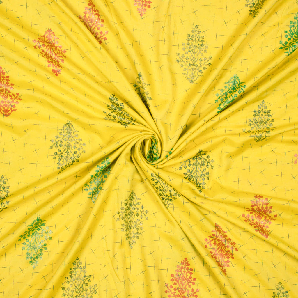Yellow And Black Floral Pattern Foil Print Dual Tone Muslin Fabric - Fabcurate