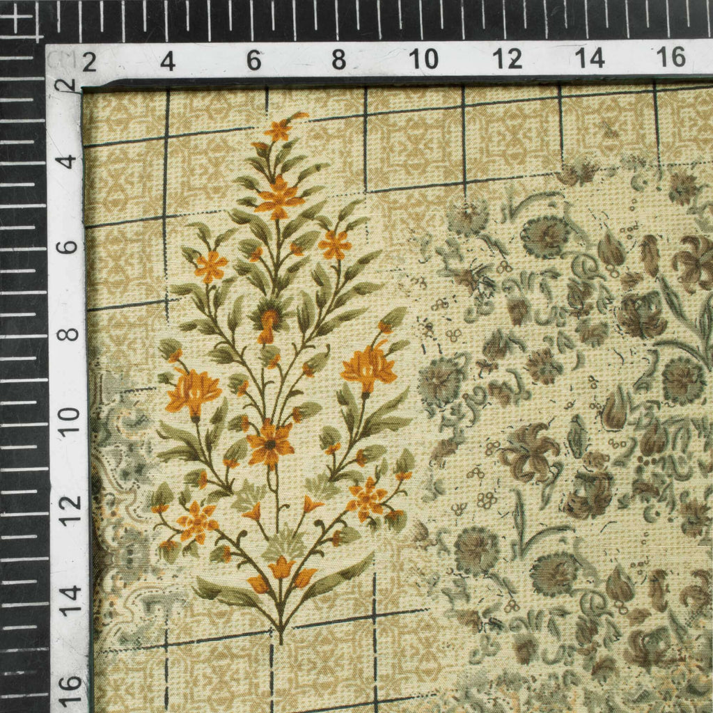 Beige And Grey Floral Pattern Screen Print Muslin Fabric - Fabcurate