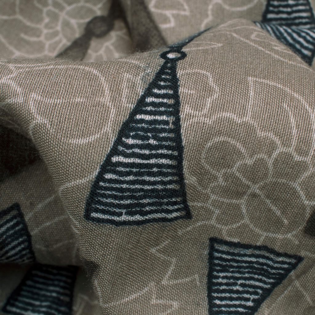 Pastel Grey And Maroon Geometric Pattern Screen Print Modal Crepe Fabric - Fabcurate
