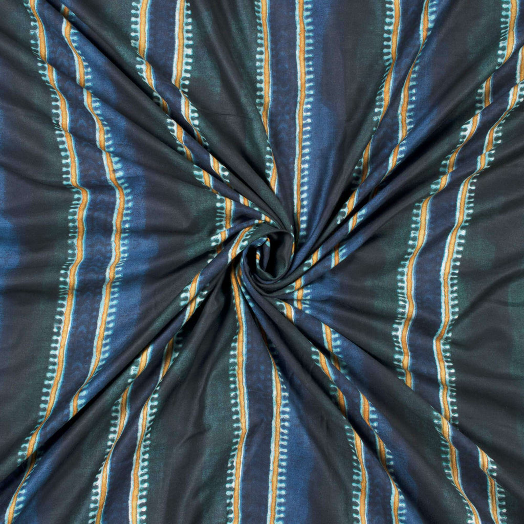 Dark Green And Navy Blue Stripes Pattern Screen Print Muslin Fabric - Fabcurate