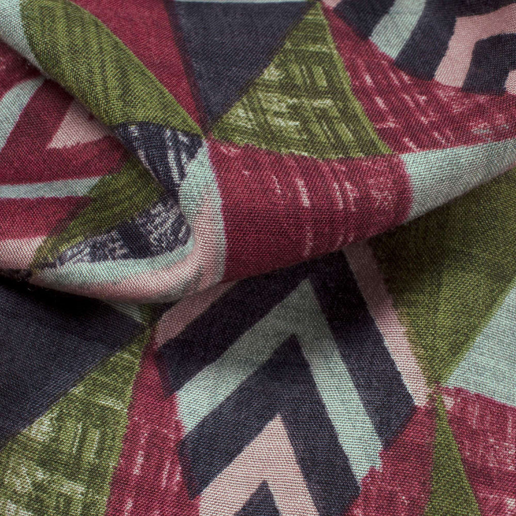 Maroon And Olive Green Geometric Pattern Screen Print Muslin Fabric