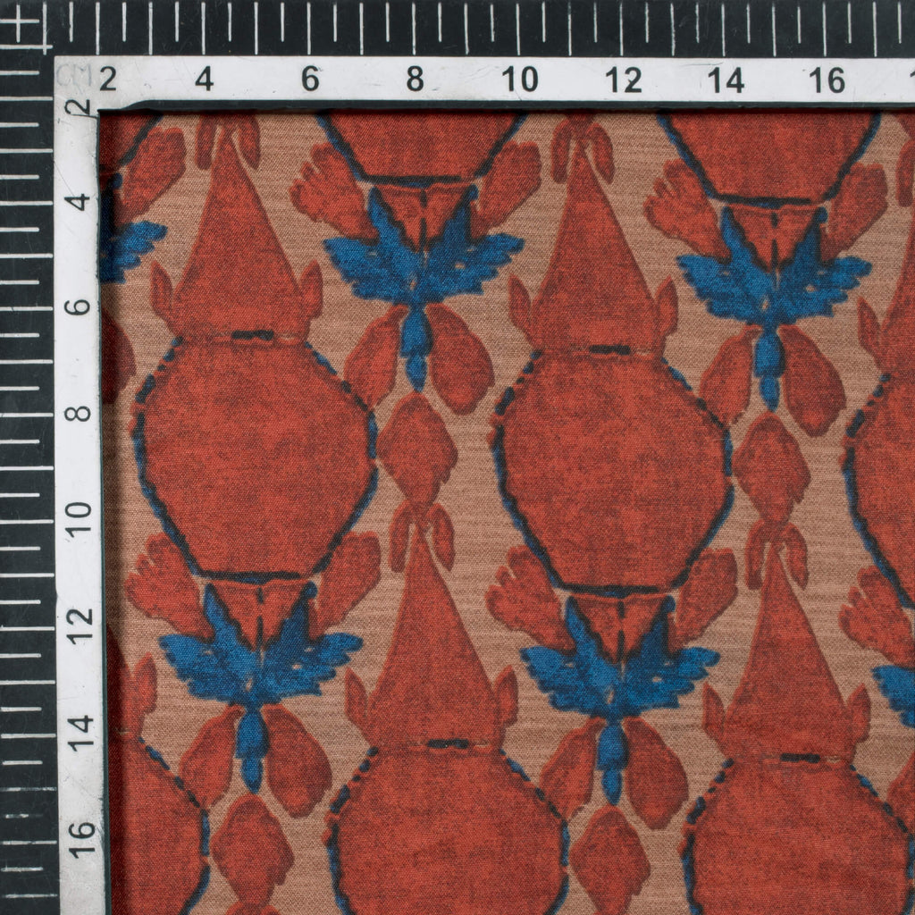 Tawny Brown And Royal Blue Geometric Pattern Screen Print Muslin Fabric