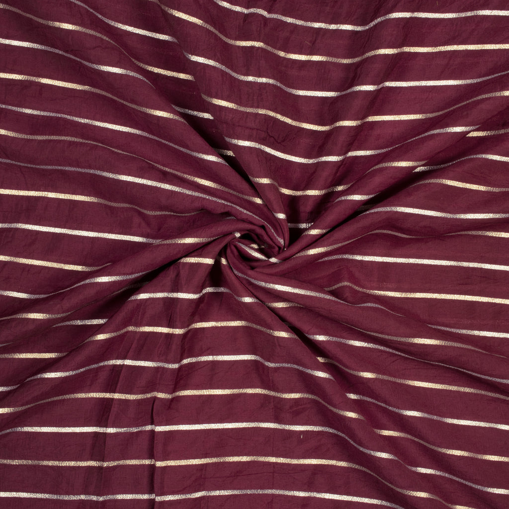 Mulberry Purple Stripes Pattern Muslin Lurex Fabric
