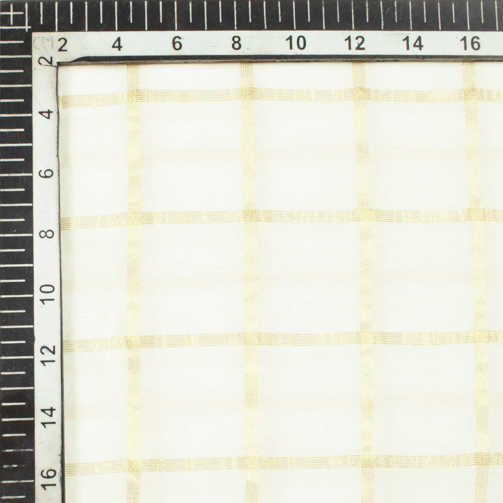 White Checks Pattern Dyable Chanderi Zari Fabric (Width 50 Inches)