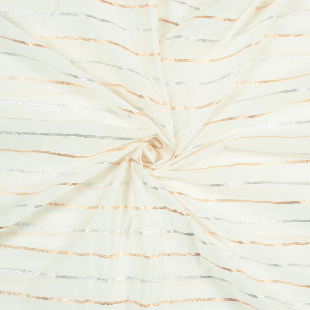 White Stripes Pattern Dyable Chanderi Lurex Fabric (Width 52 Inches)