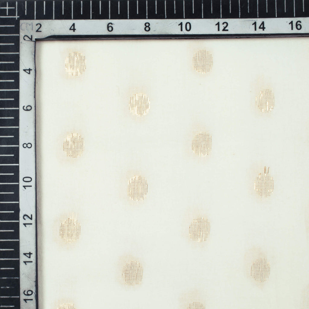 White And Golden Booti Pattern Dyeable Cotton Lurex Fabric