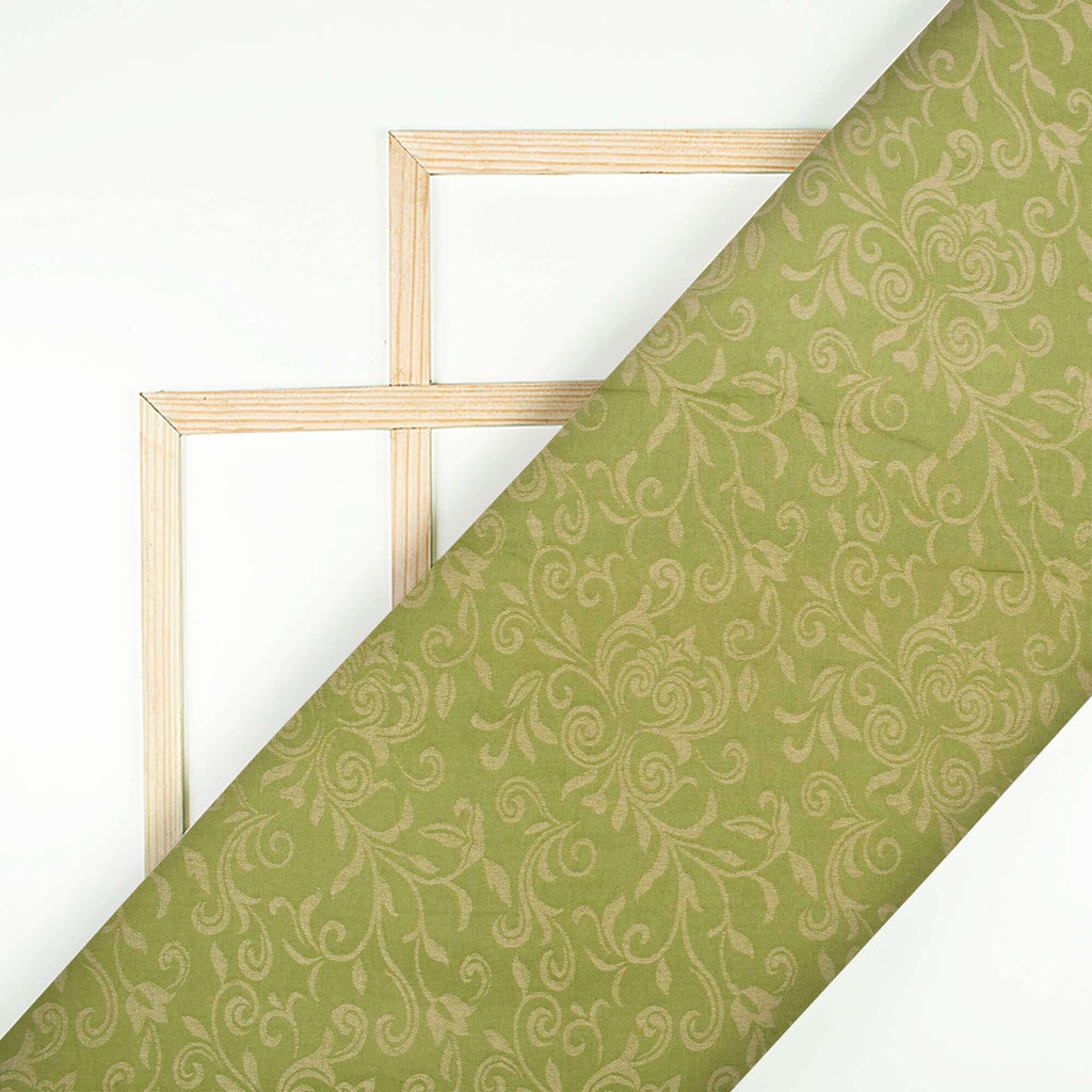 Olive Green And Beige Floral Pattern Glazed Cotton Jacquard Fabric