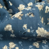 Aegean Blue And Grey Floral Pattern Digital Print Inbox Lycra Fabric (Width 56 Inches)