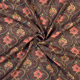Brown And Red Trellis Pattern Screen Print Chanderi Fabric