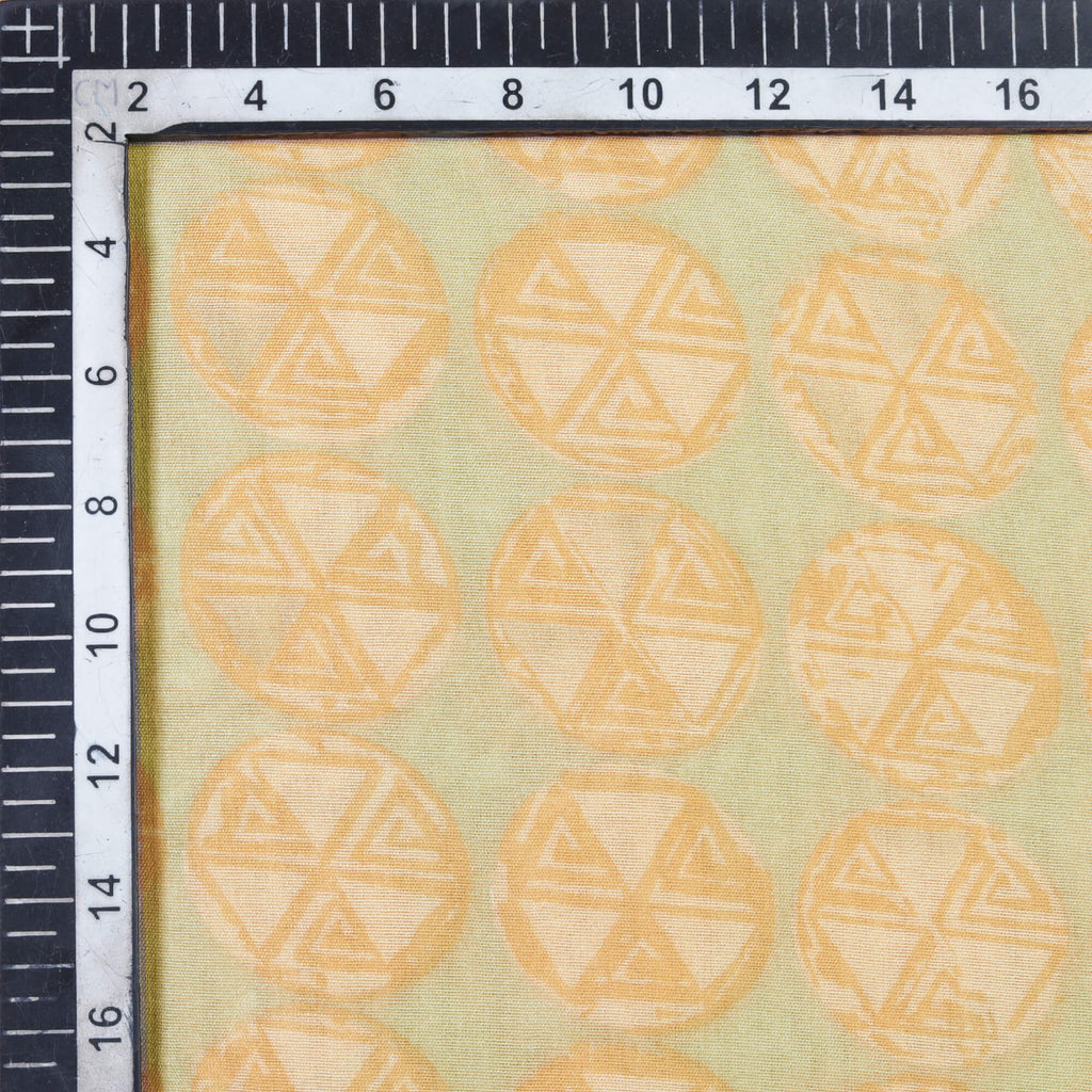 Pastel Grey And Beige Geometric Pattern Screen Print Chanderi Fabric
