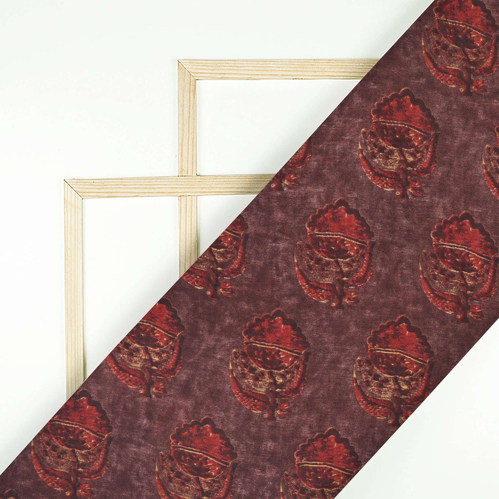 Brown And Red Floral Pattern Screen Print Chanderi Fabric