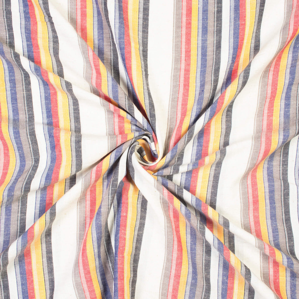 Off White And Cerise Pink Stripes Pattern Yarn Dyed Flex Cotton Fabric