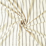Off White And Black Stripes Pattern Lurex Flex Cotton Fabric