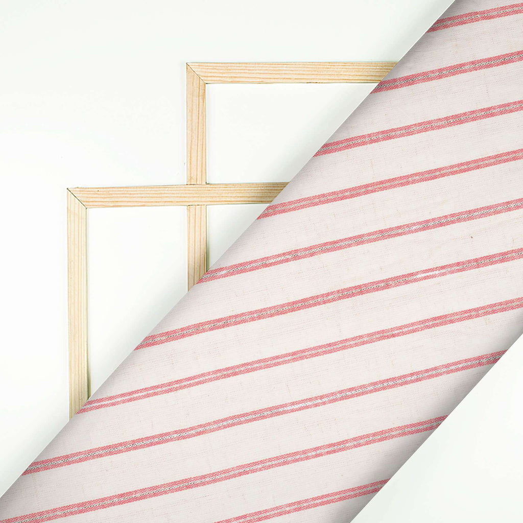 Off White And Red Stripes Pattern Lurex Flex Cotton Fabric