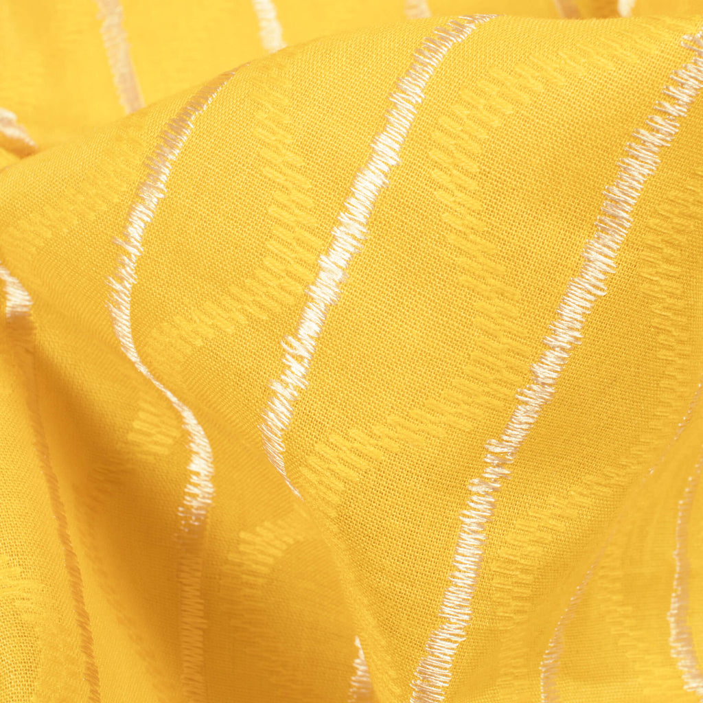 Mustard Yellow Stripes Pattern Dobby Cotton Fabric