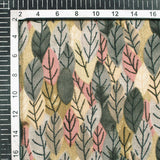 Grey And Rouge Pink Leaf Pattern Inbox Fabric (Width 56 Inches)