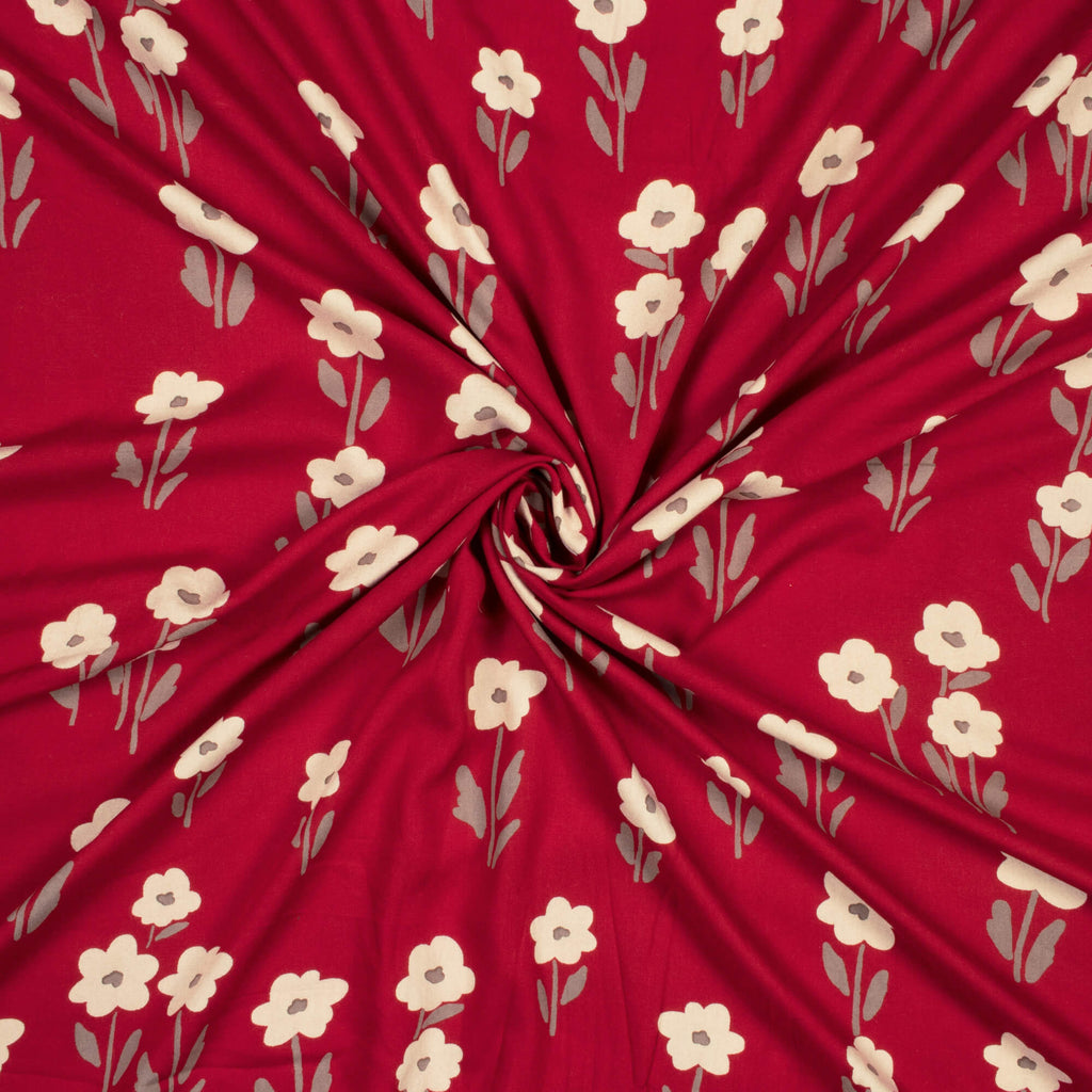 Red And Cream Floral Pattern Screen Print Rayon Fabric