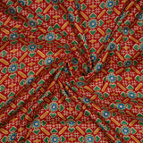 Red And Yellow Patola Pattern Slub Satin Fabric