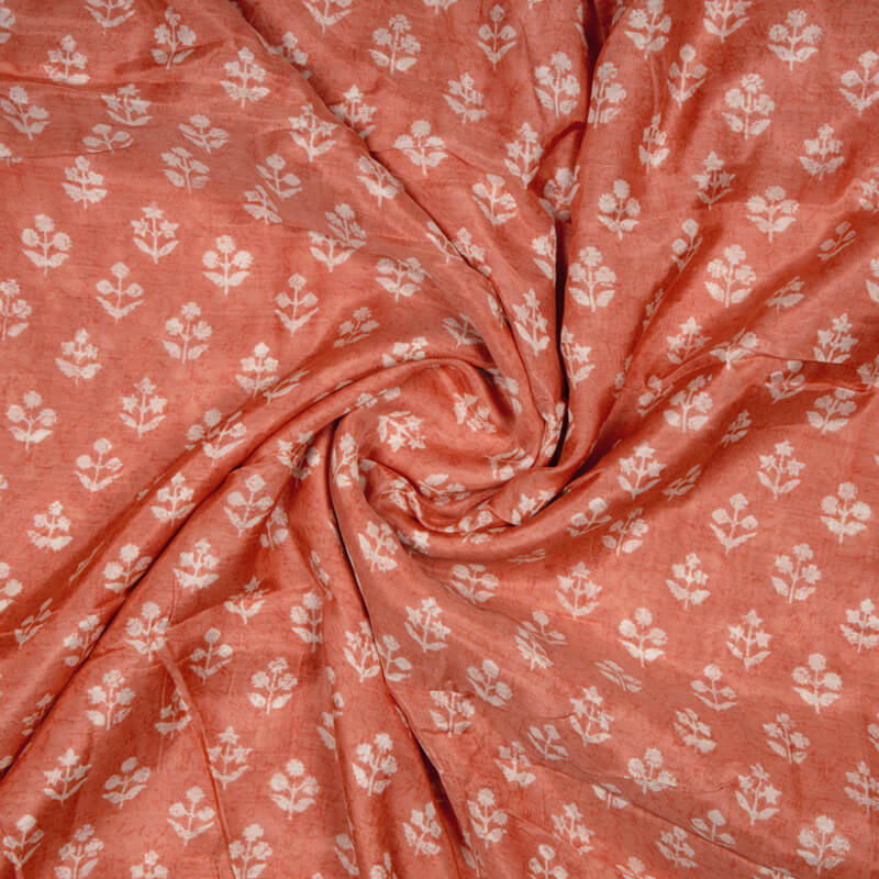 Peach And White Floral Pattern Viscose Muslin Fabric